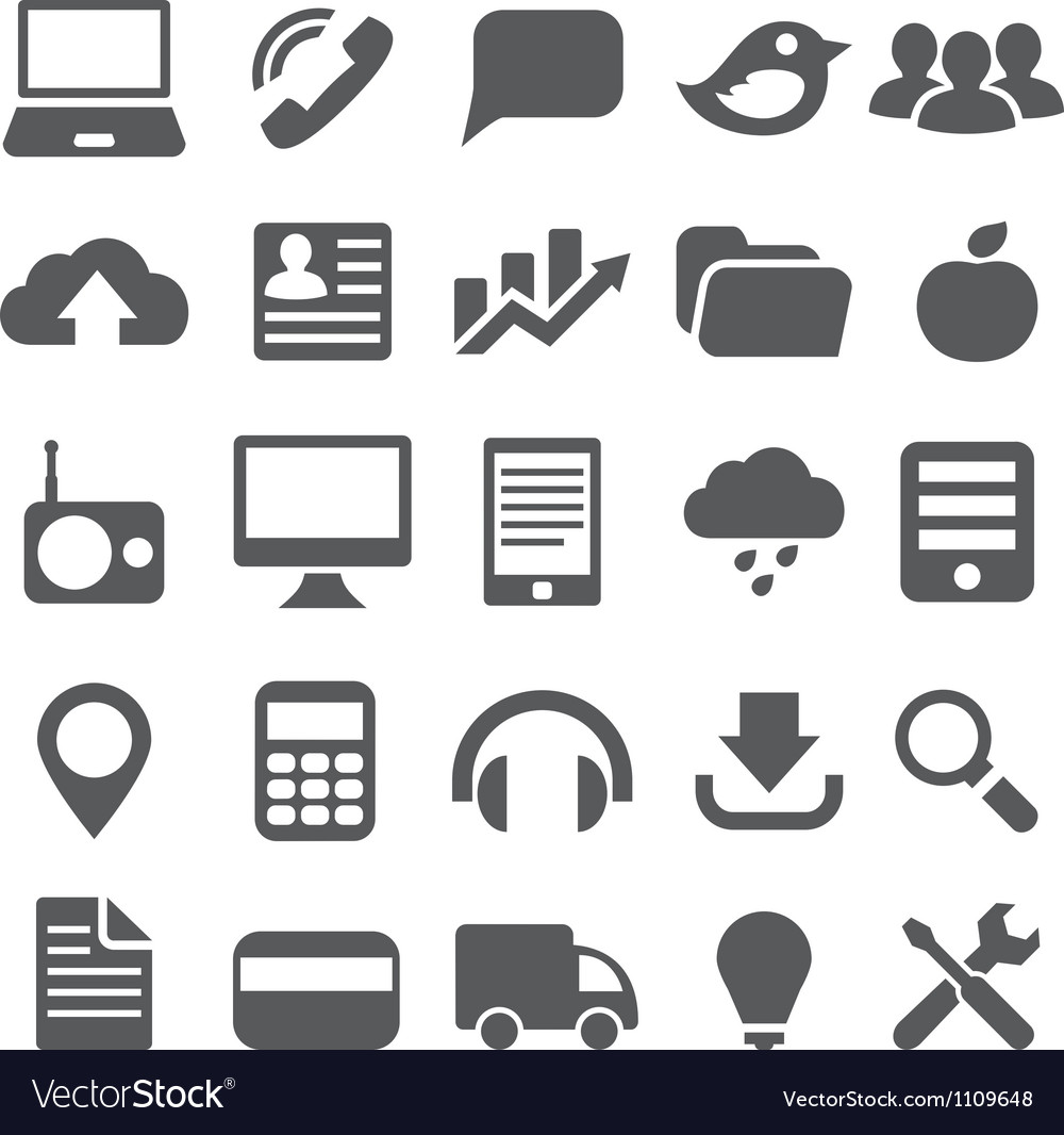 Set gray simple icons for web design