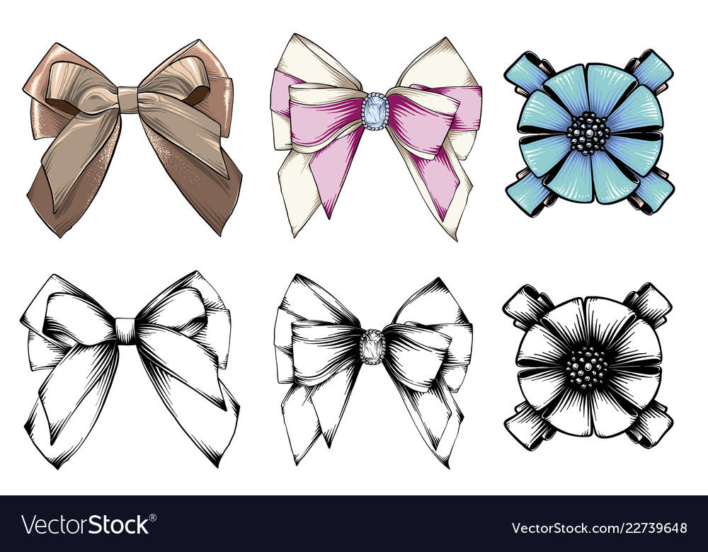 Set of beautiful graphic bows hand drawn bows