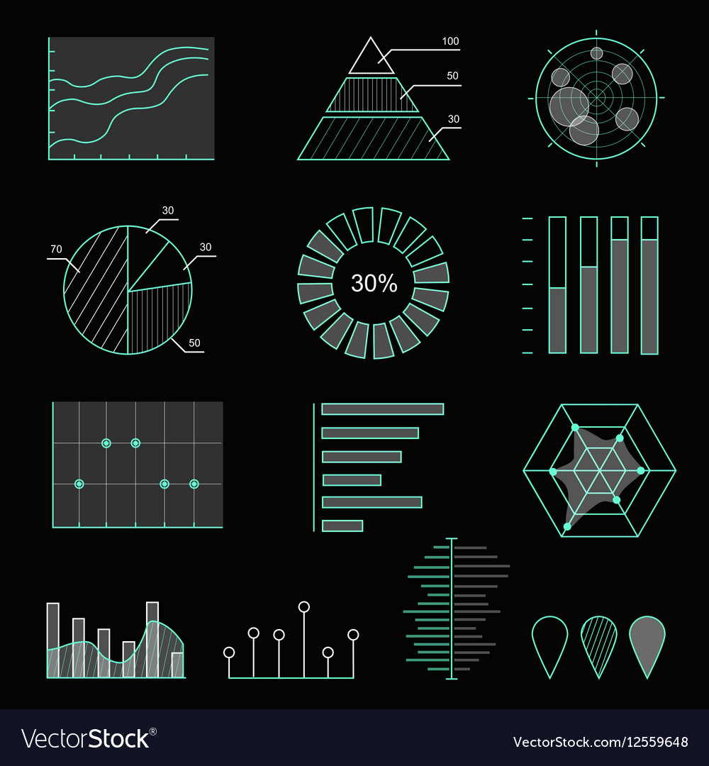 Set of chart icons in thin lines Infographic
