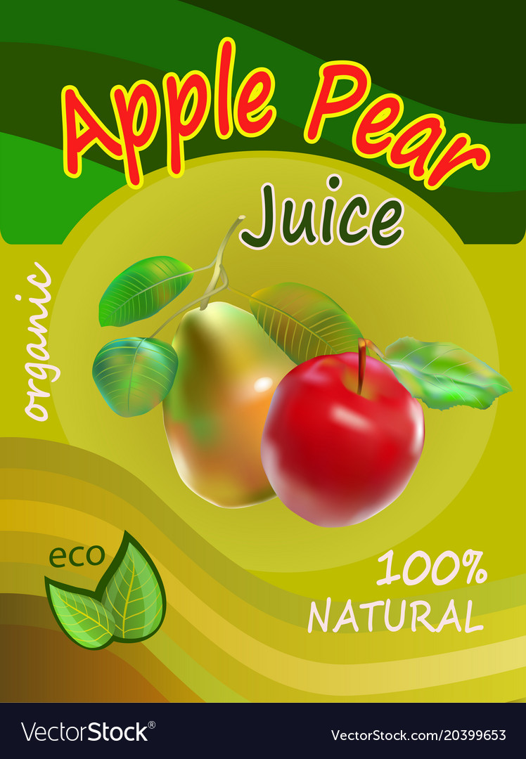 Apple and pear juice template packaging design vec vector image
