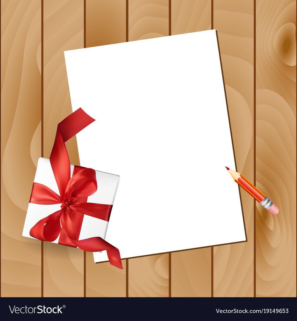 Christmas Letter With A Pencil And A Gift Red Bow Vector Image