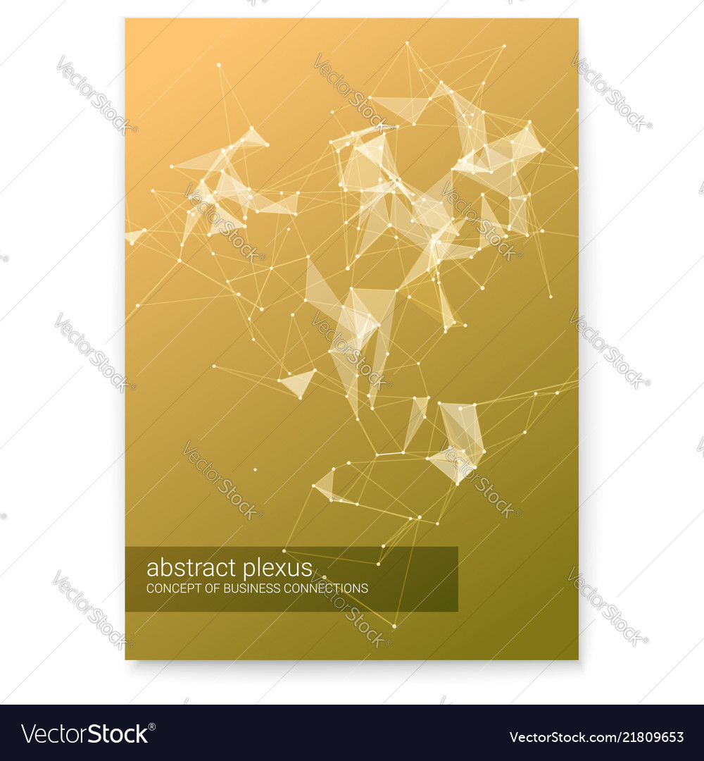 Cover with abstract technology plexus shapes 3d