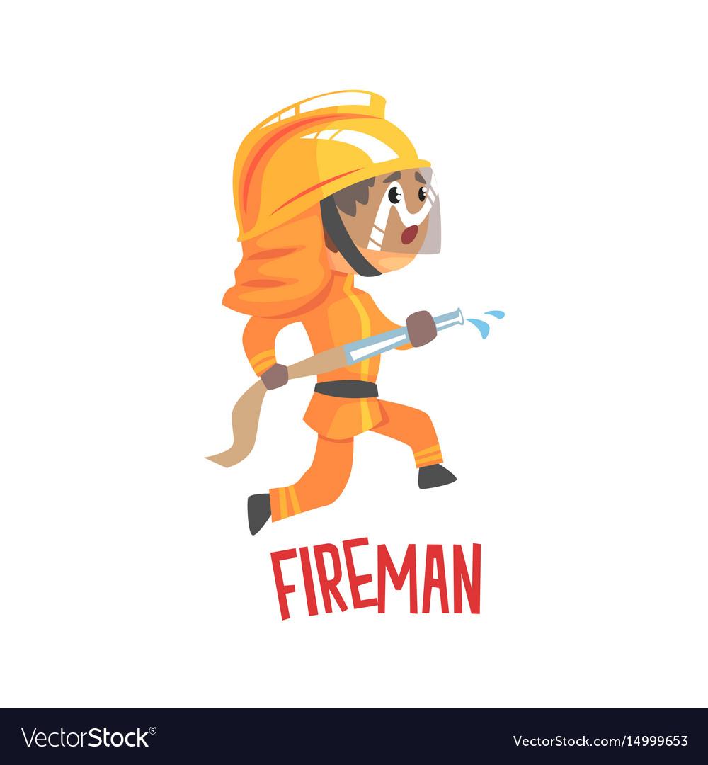 Cute cartoon fireman character using water hose
