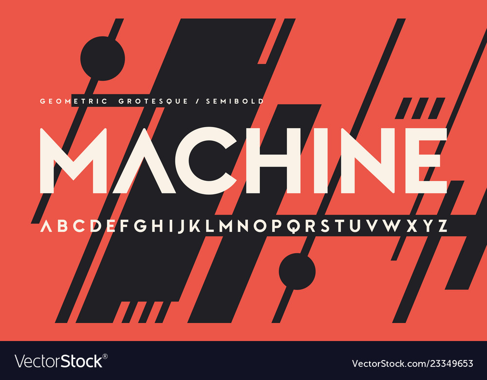 Geometric semibold weight san serif alphabet