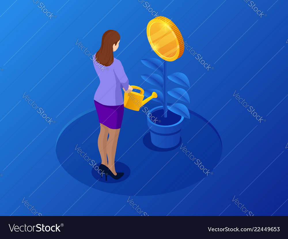 Isometric coins growth or growing money and