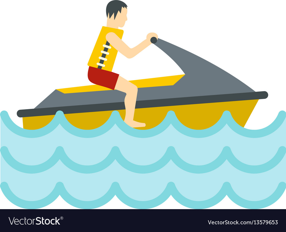 Jet ski rider icon flat style vector image