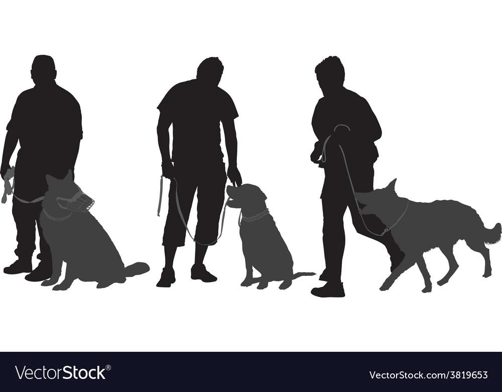 Man walking his dog silhouette
