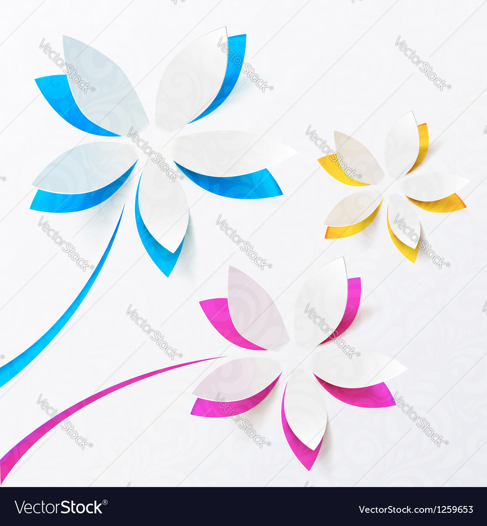Paper flowers greeting card template