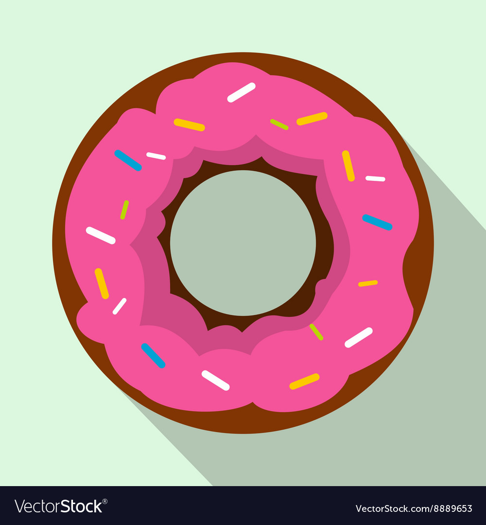 Pink glazed donut icon flat style