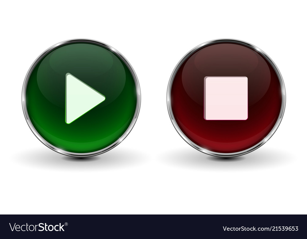 Play and stop buttons green and red 3d icons with