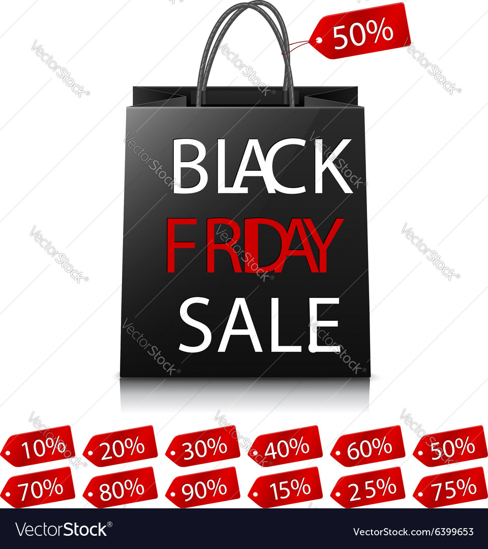 d1fe0be853d1 Shopping bag with Black Friday Sale sign and red Vector Image
