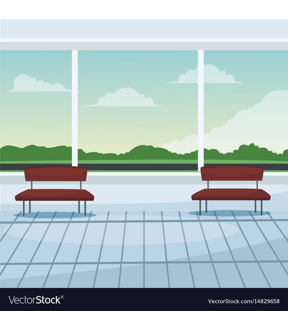 Airport waiting room chairs windows landscape vector image