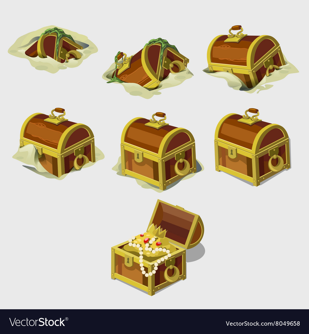 Big set chest with treasures seven icons