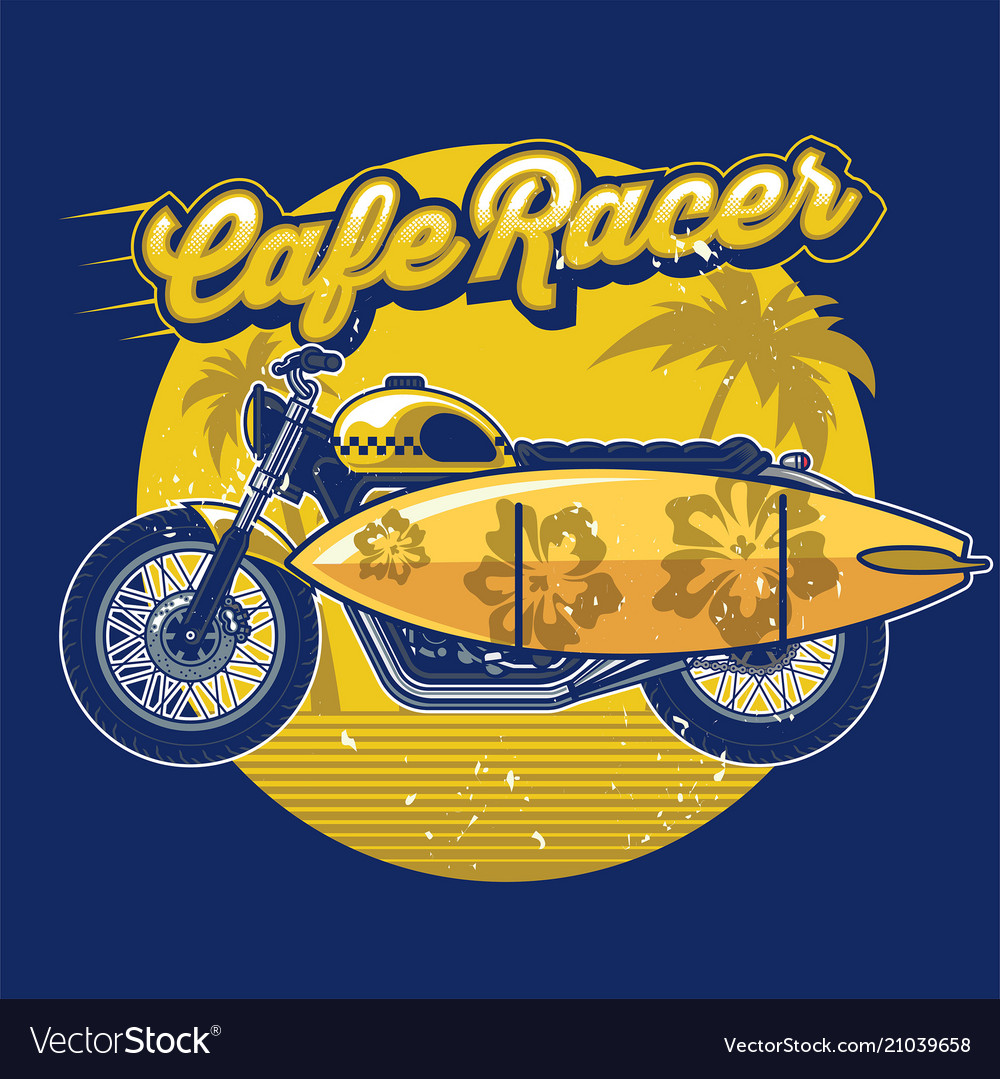 Cafe racer with surf board in design summer