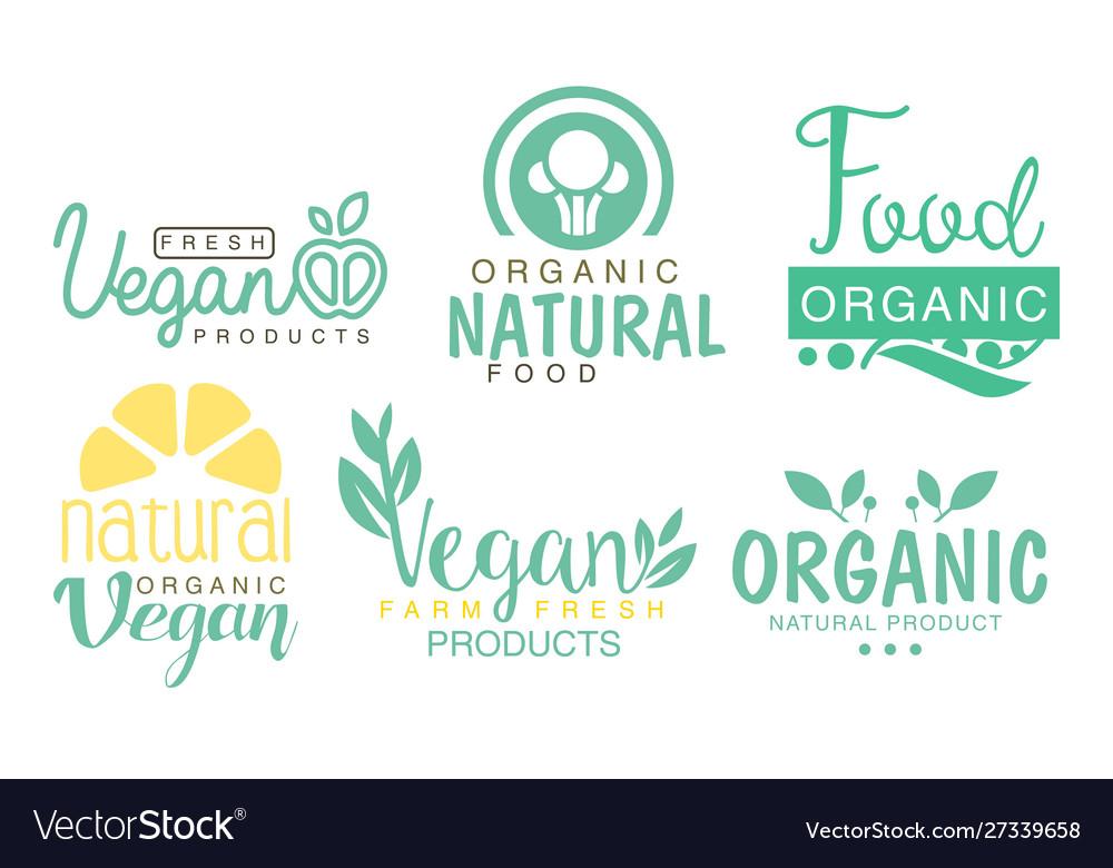 Fresh vegan products logo set organic fresh farm