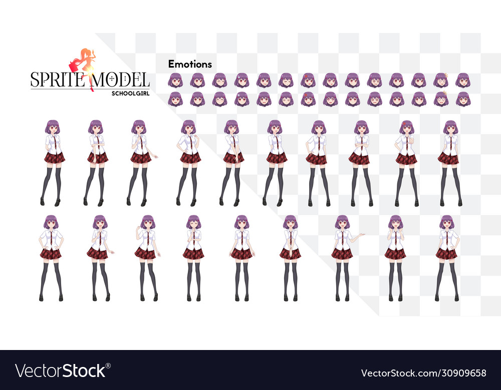 Set emotions sprite full length character