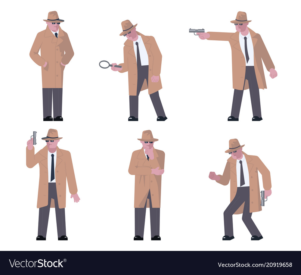 set of detective characters royalty free vector image