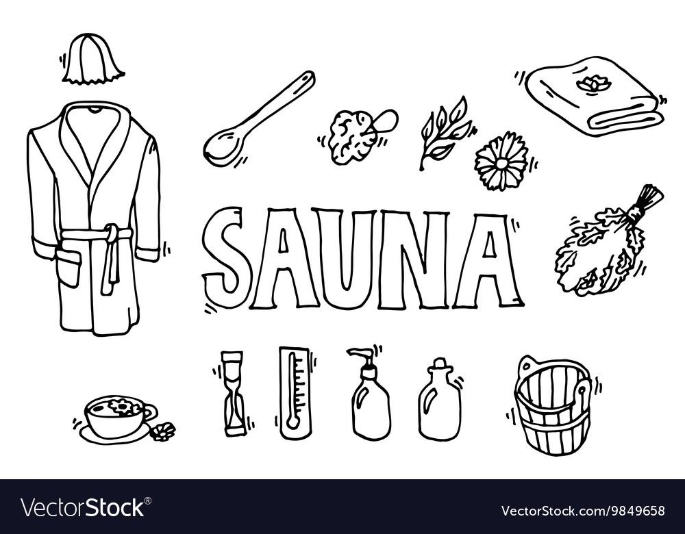 Set of sauna icons vector image