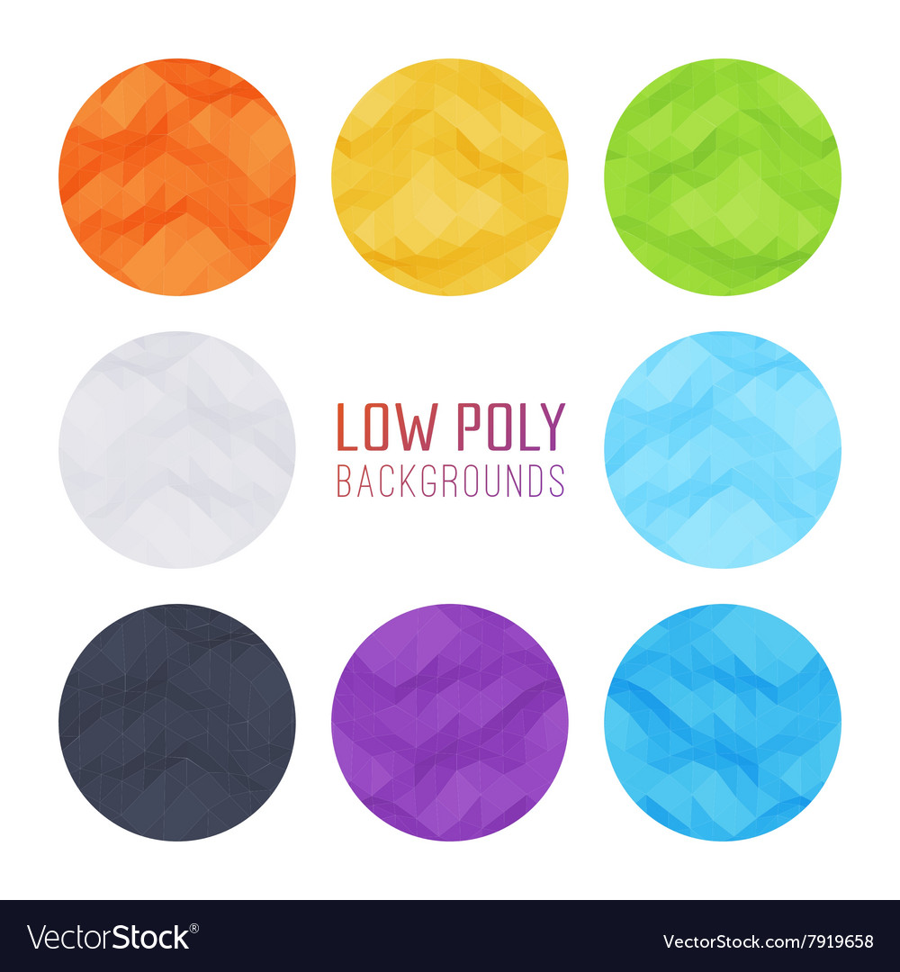 Set of the colored low poly backgrounds