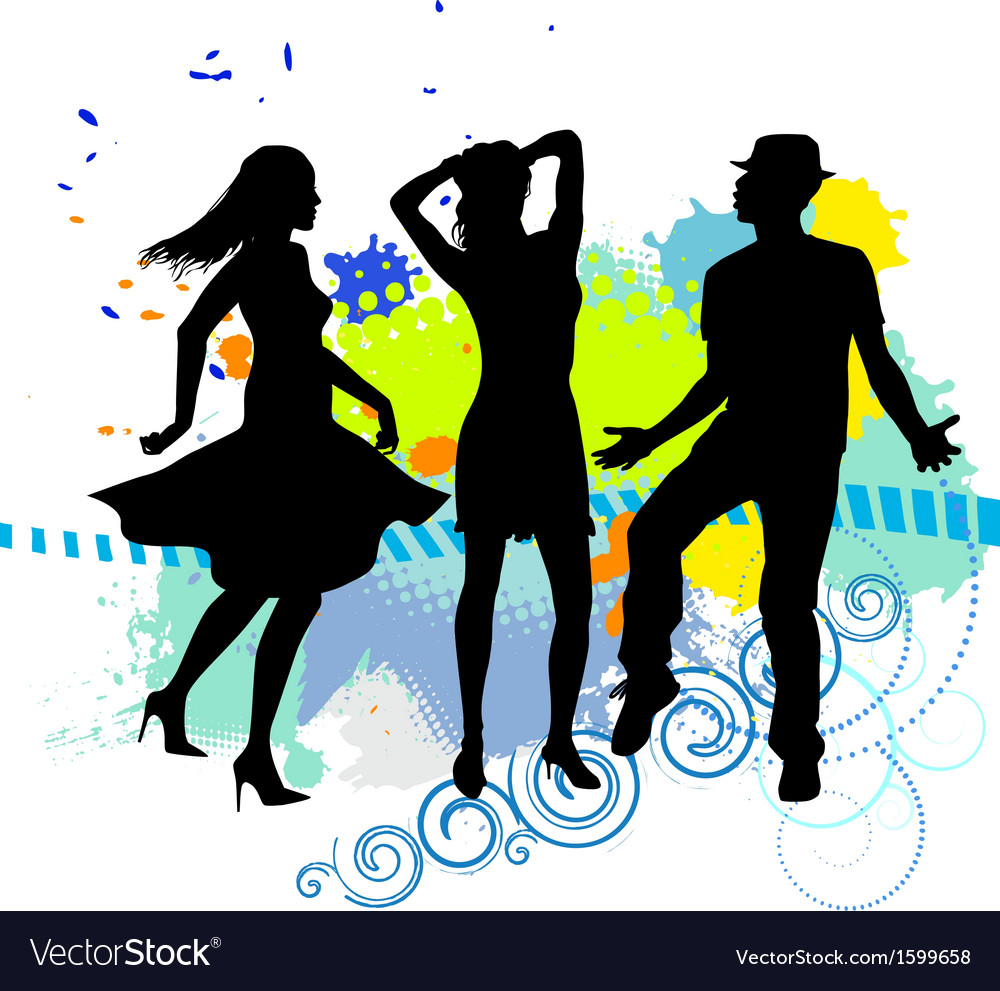 Several people are dancing on the party silhouette