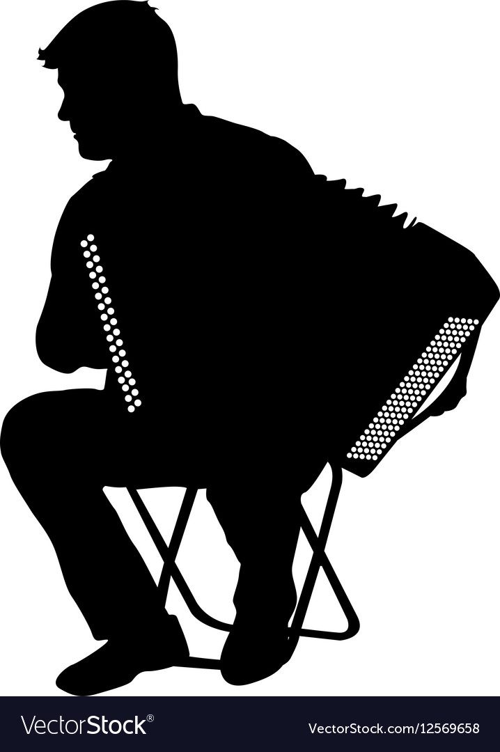 Silhouette musician accordion player on white vector image