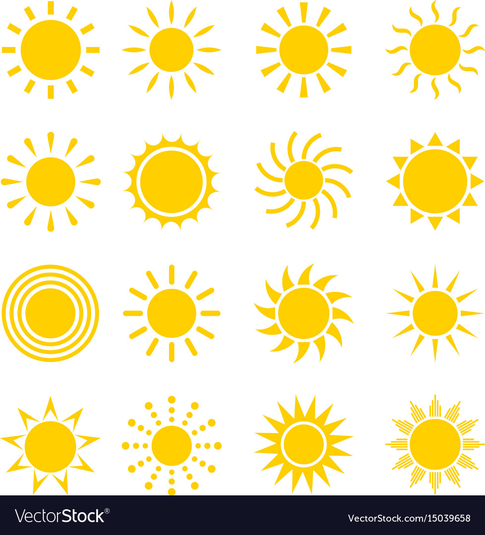 Sun icon set vector image