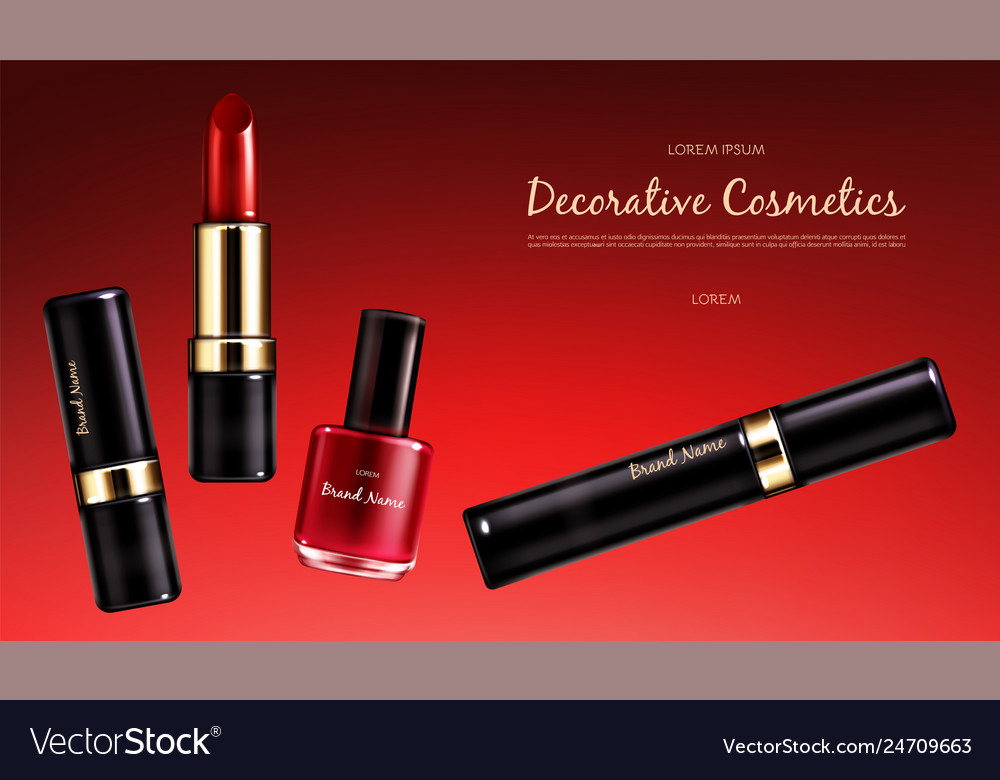 Banner with a female collection of makeup