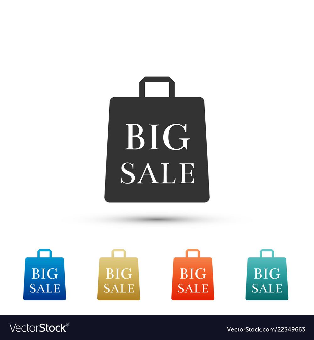 Big sale bag icon isolated on white background