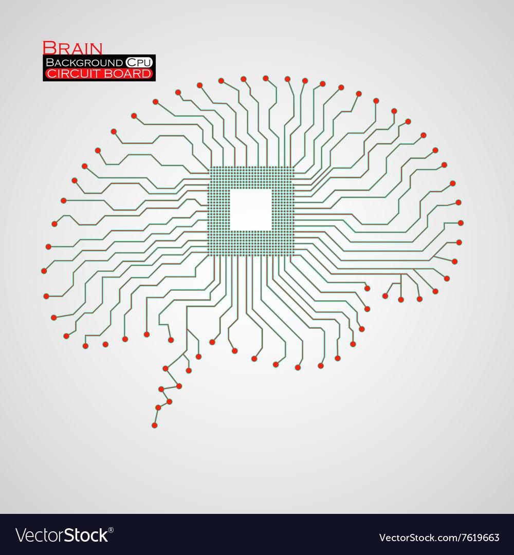 Brain Cpu Circuit Board Royalty Free Vector Image Diagram Of A