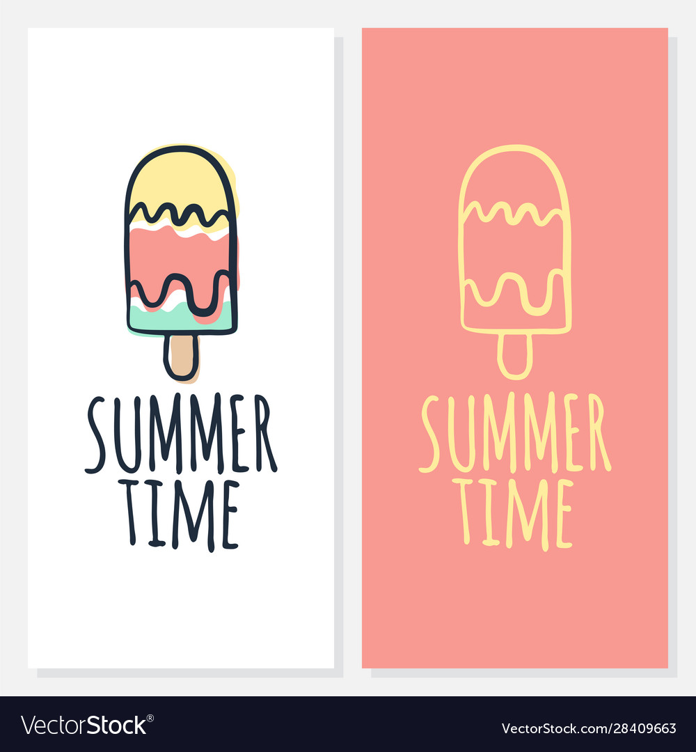 Calligraphy summer time with ice cream icon drawn
