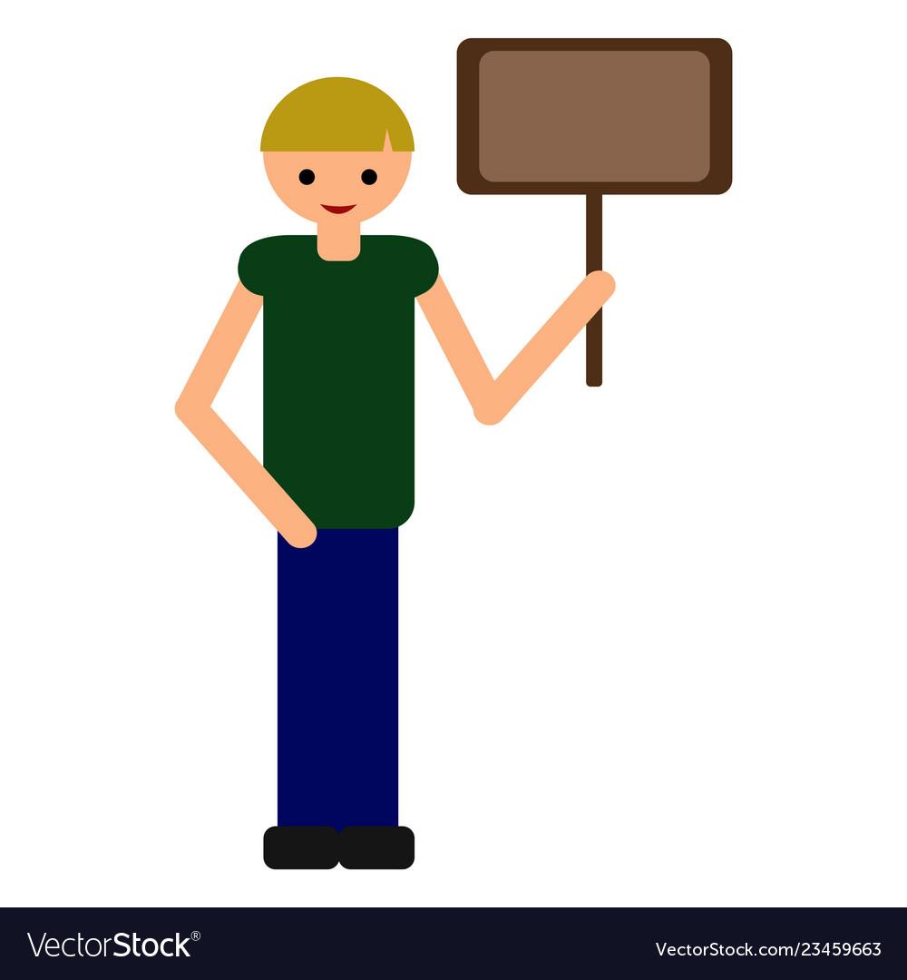Cartoon boy holding nameplate flat style