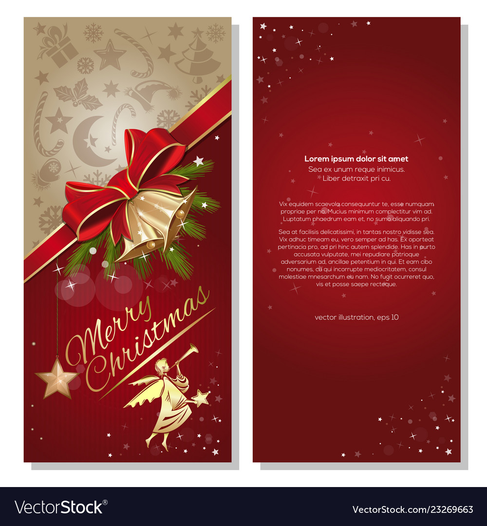 Christmas card with angel and jingle bells Vector Image