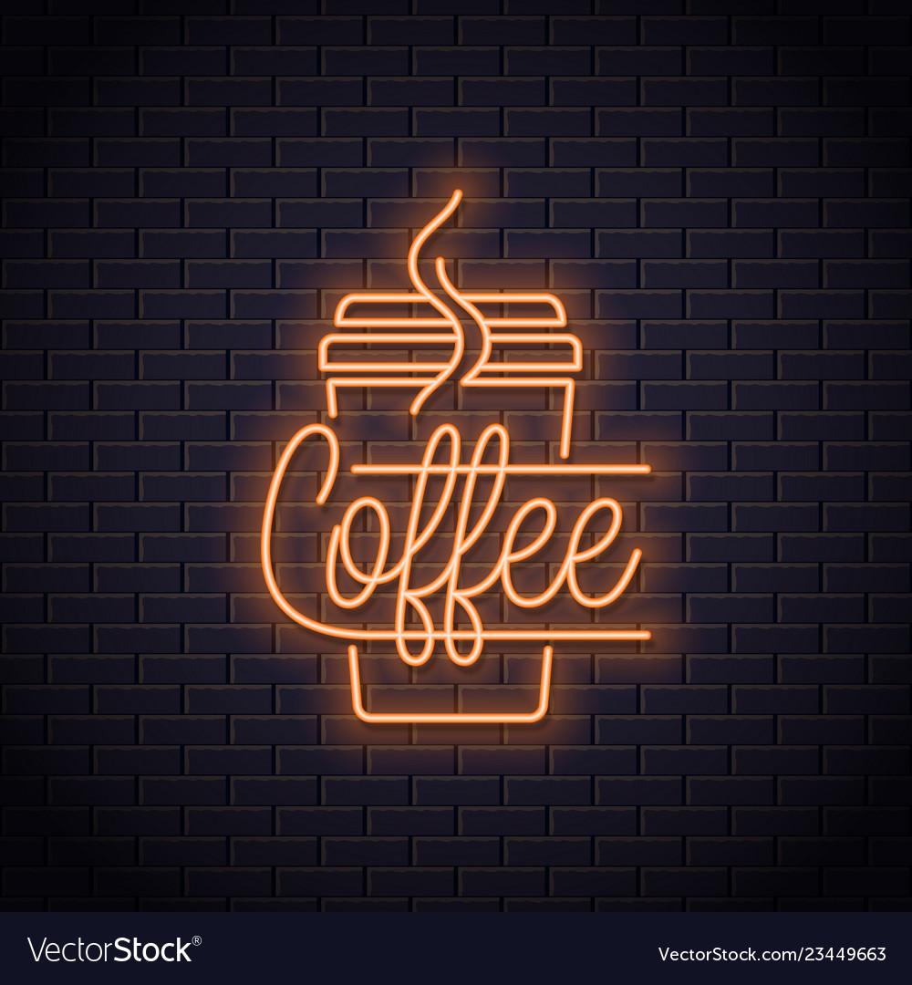 Coffee cup neon logo take away coffee to go
