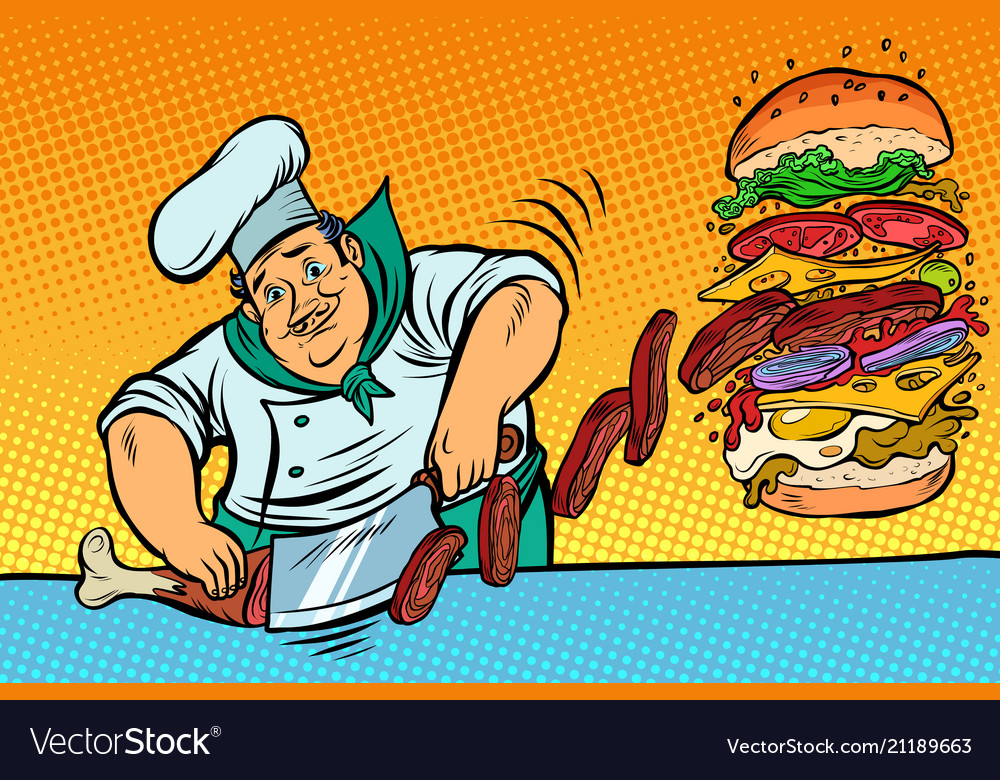 Cook prepares burger fast food restaurant