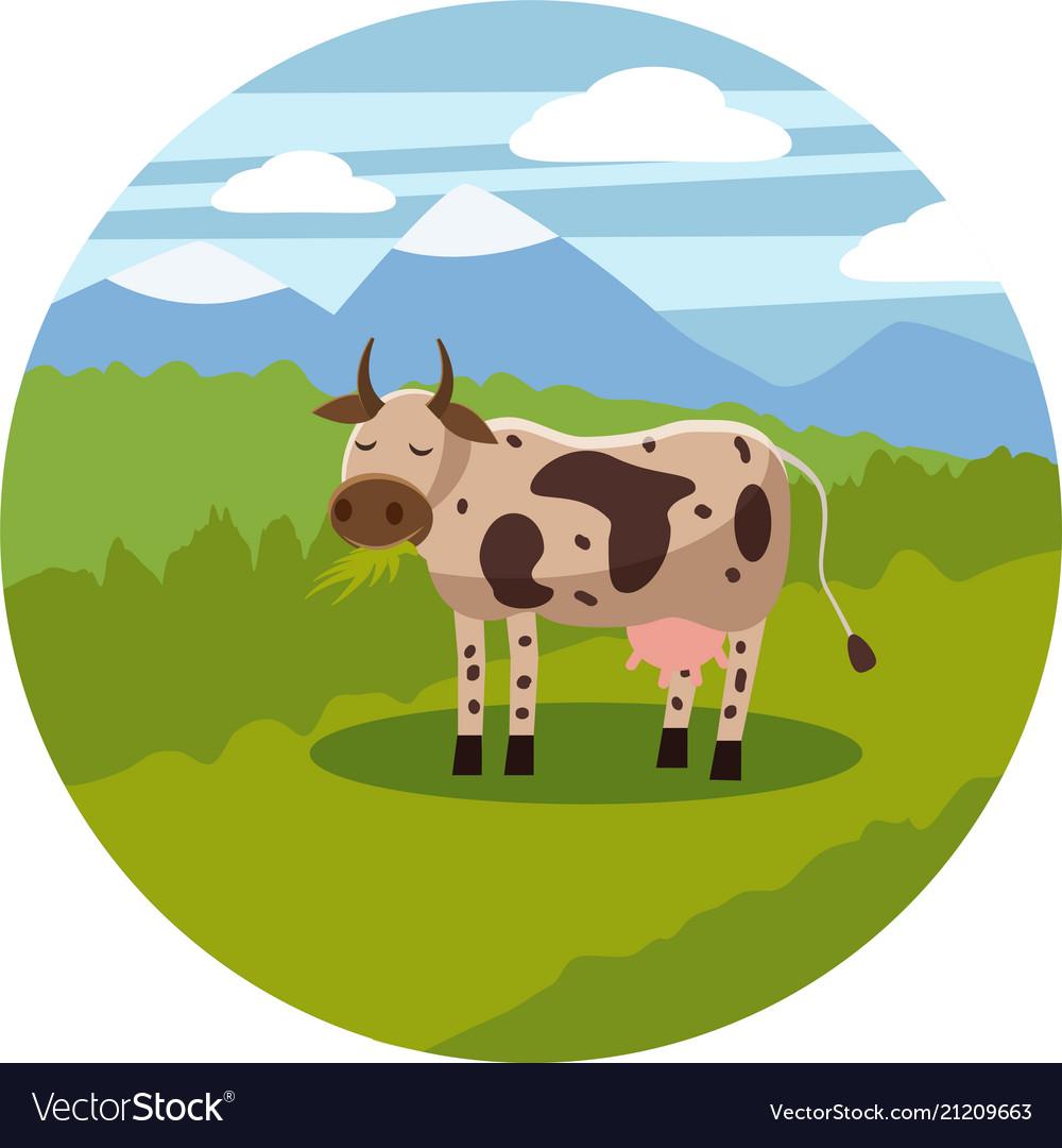 Cute cartoon cow on background landscape