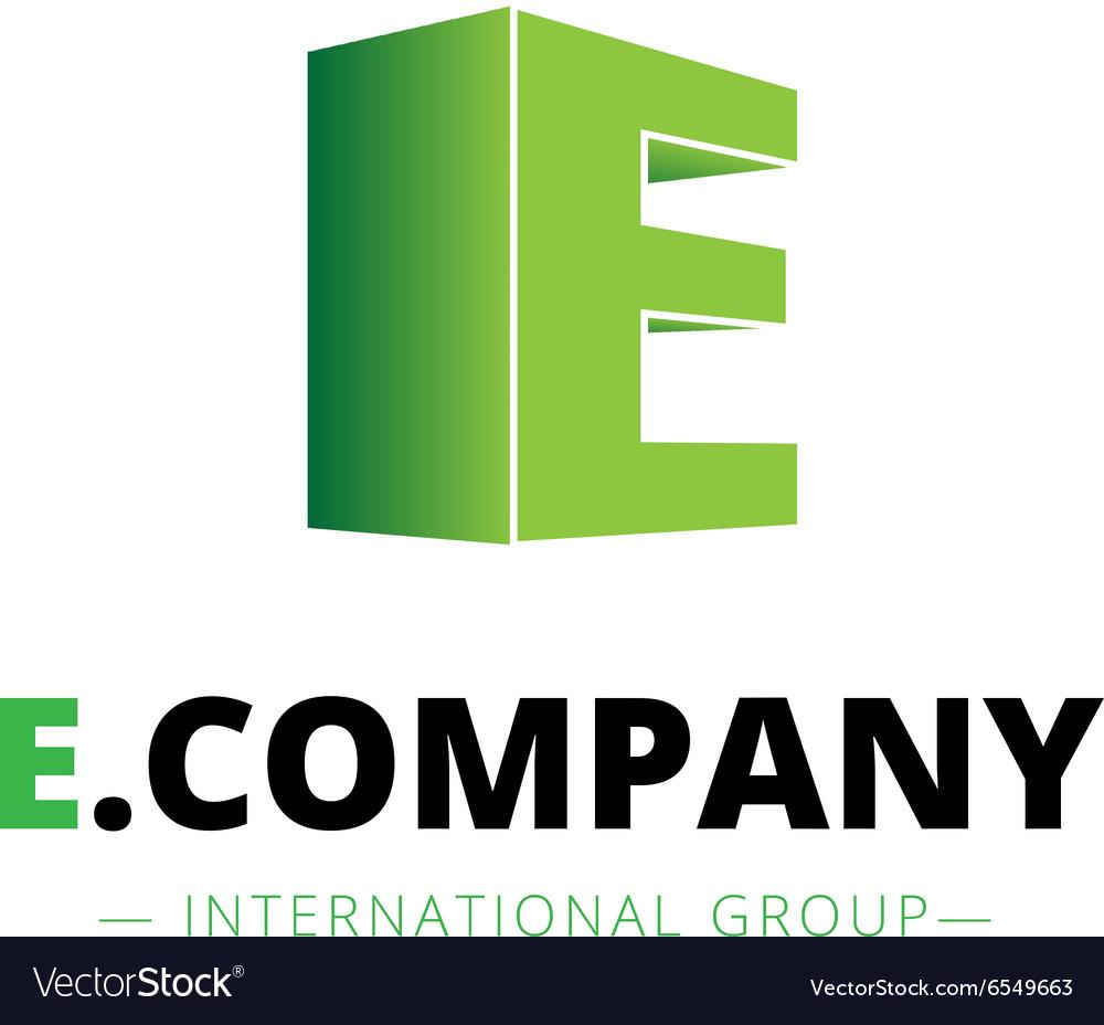 Isometric gradient E letter logo Company