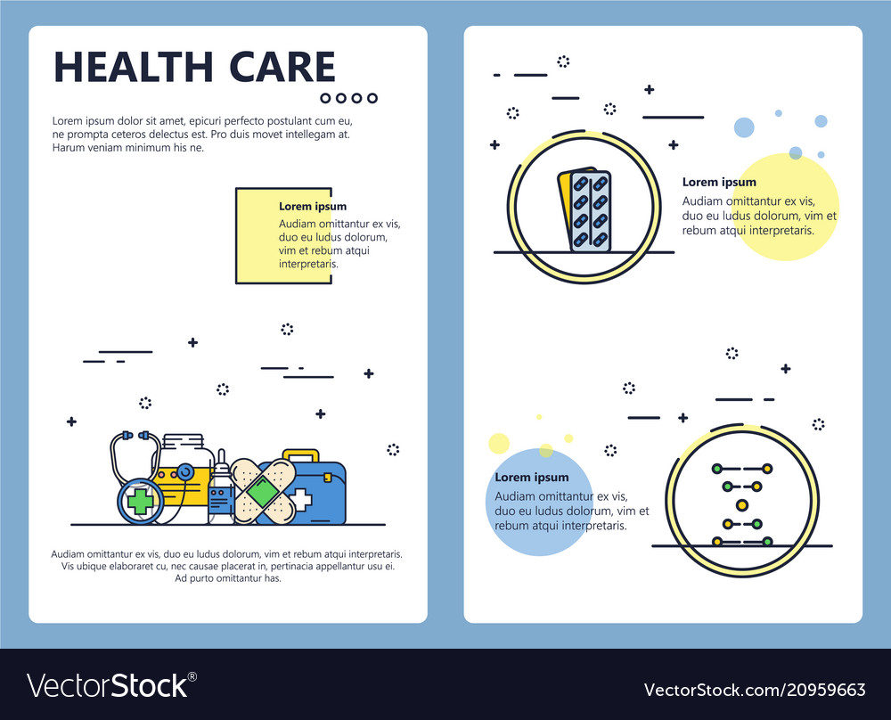 Line art health care poster banner template
