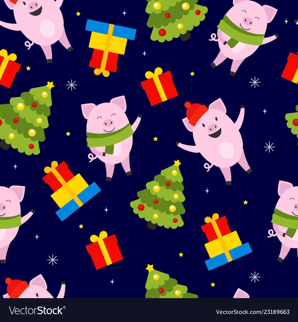 New year 2019 pig pattern vector image