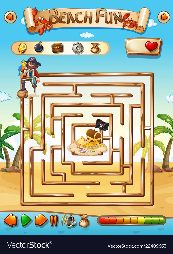 Pirate beach maze puzzle game