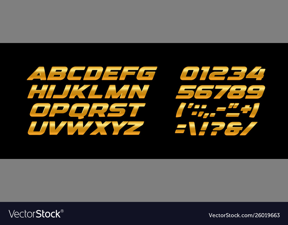 Premium bold letters and numbers set golden