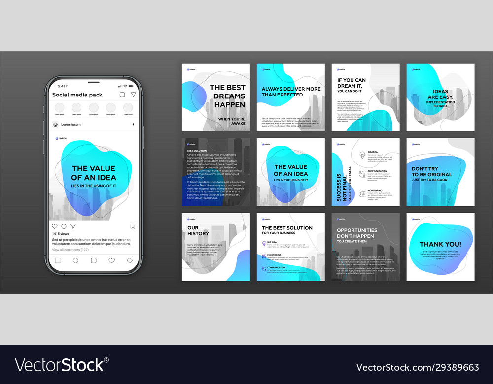 Social Media Post Templates Set Royalty Free Vector Image