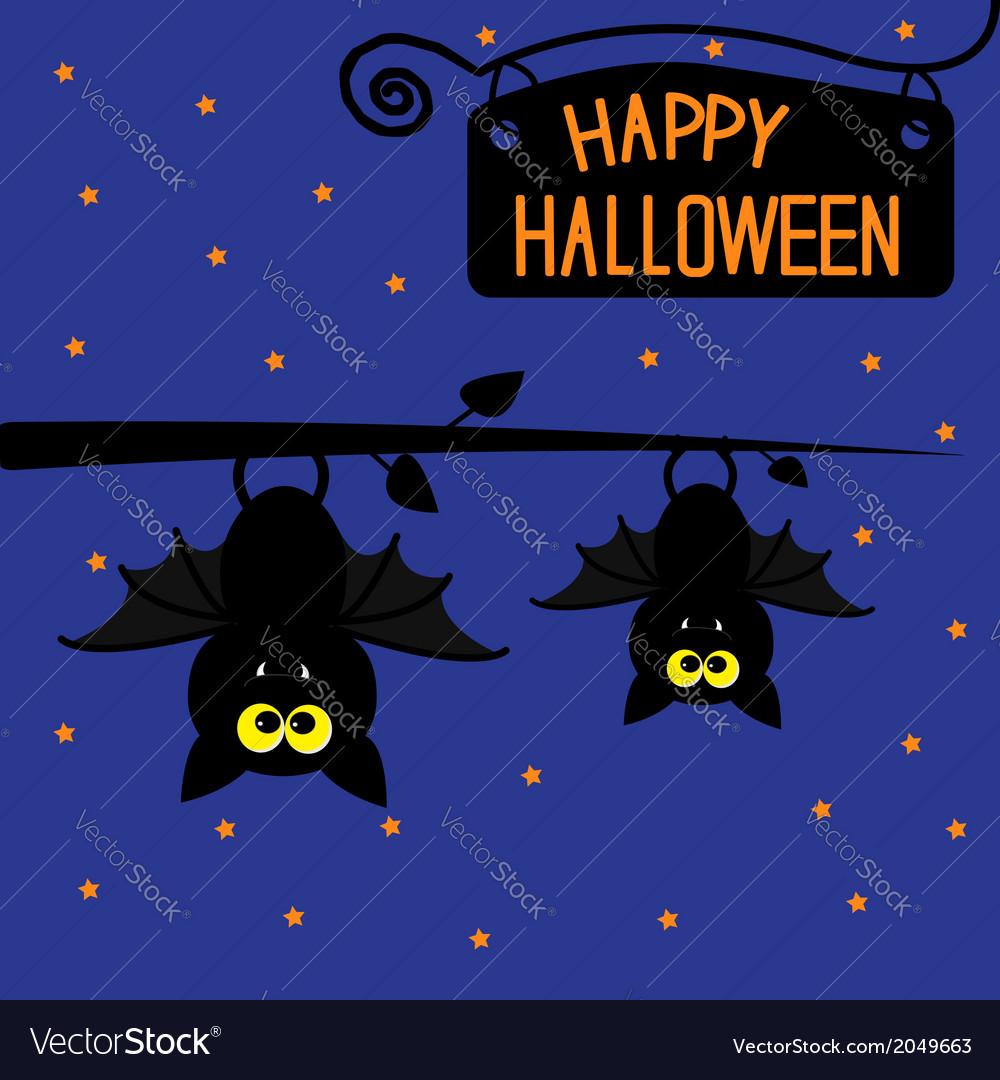 Two Hanging Bats At Night Halloween Card Vector Image