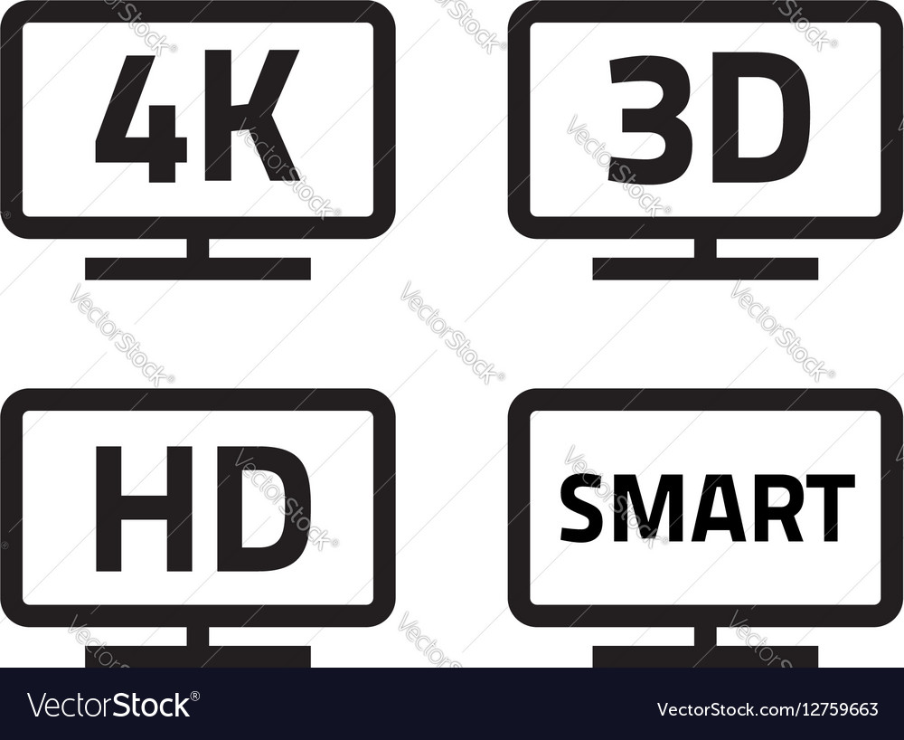 Ultra hd 4k smart tv format television icons 3d