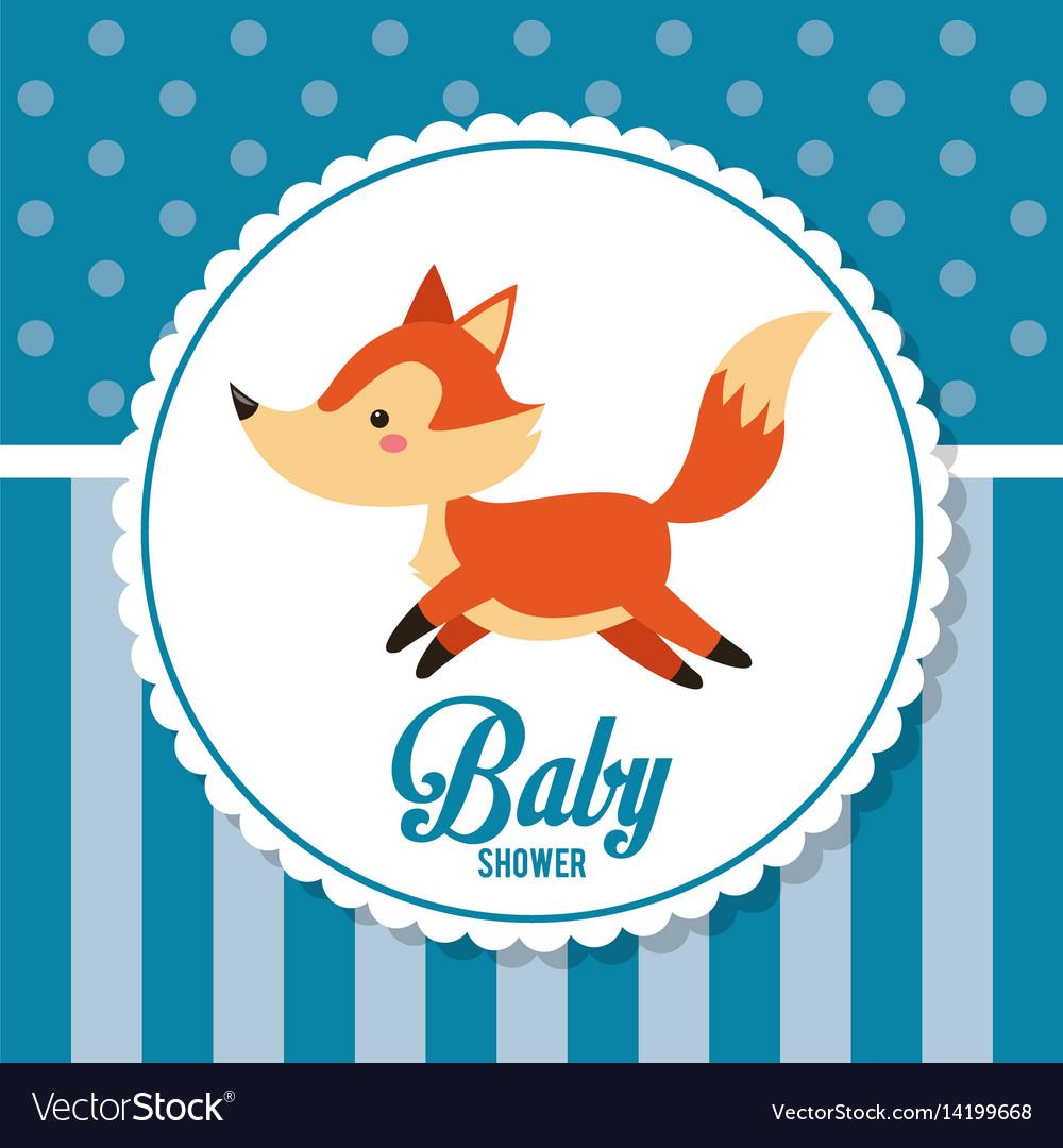 Baby shower card invitation cute fox decoration vector image