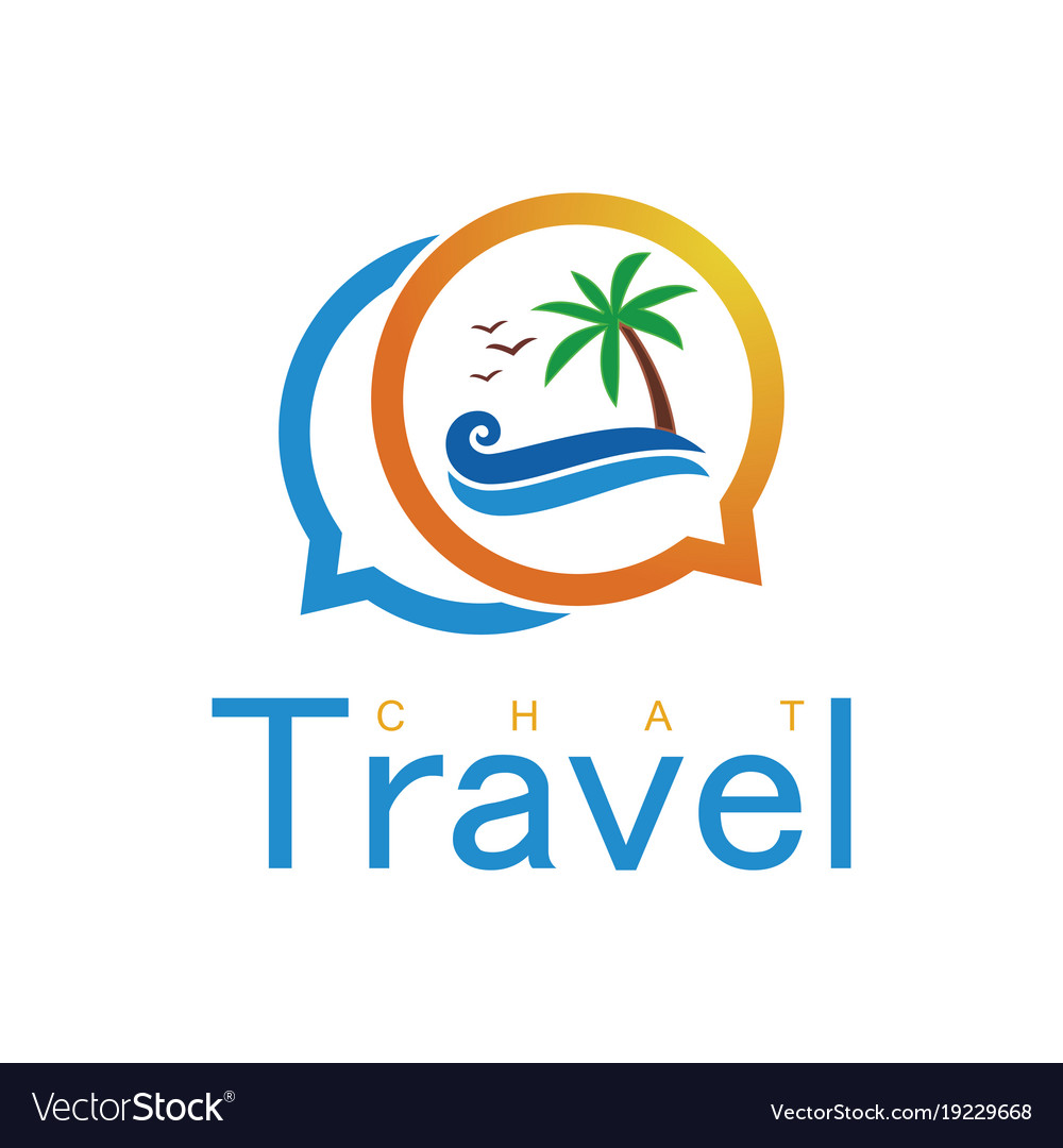 Beach travel chat logo