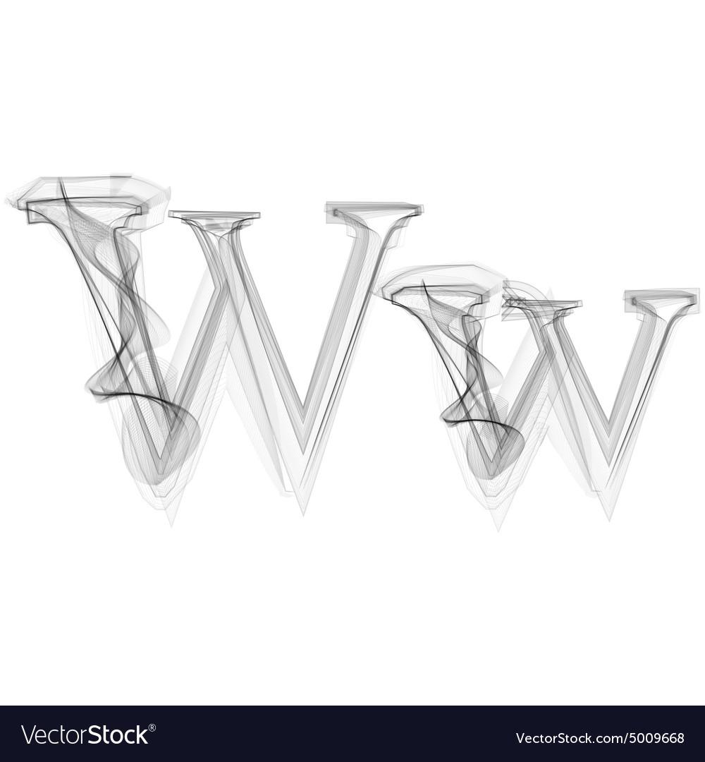 Black Smoke font Letter W vector image