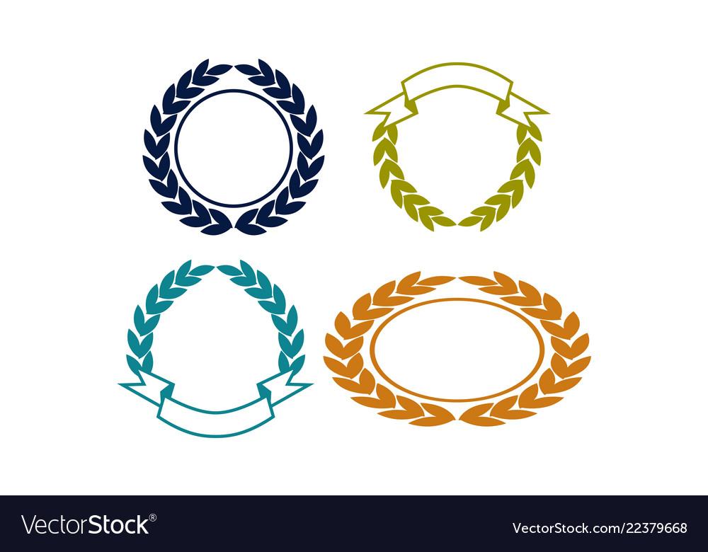 Blank Shield Ribbon Template Set Vector Image