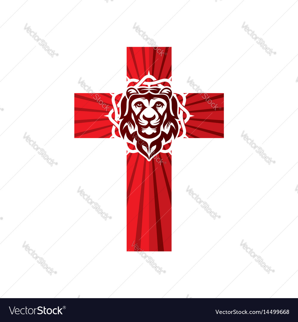 Cross crown of thorns and lion