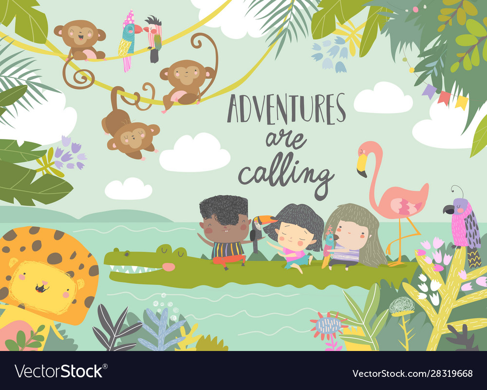 Cute cartoon kids travelling with animals