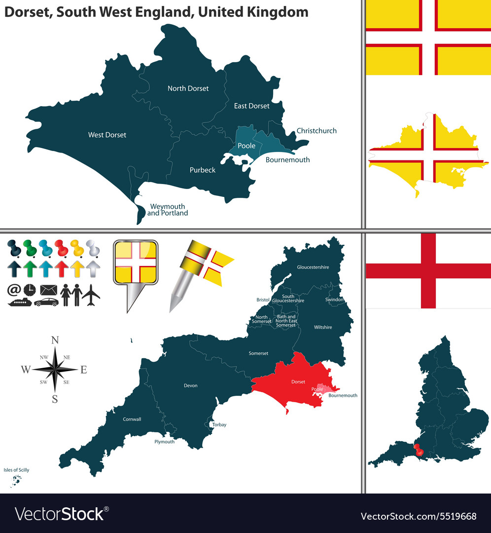 Map Of The South West Of England.Dorset South West England Royalty Free Vector Image